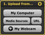 Image illustrating the upload options into VoiceThread
