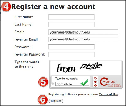 Image illustrating the Registration screen for VoiceThread.