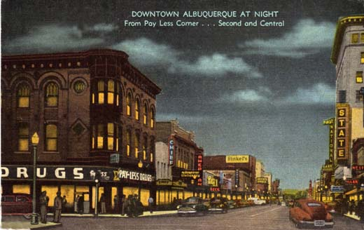 Downtown Albuquerque at Night from Pay Less Corner . . . Second and Central