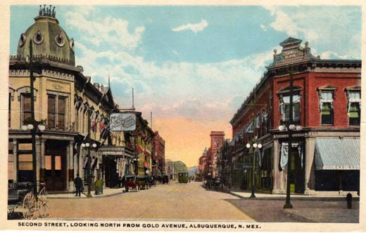 Second Street, looking North from Gold Avenue, Albuquerque, N. Mex