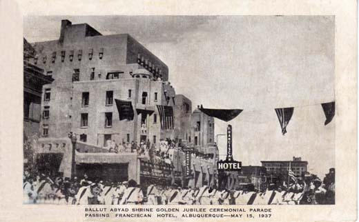 Ballut Abyad Shrine Golden Jubilee Ceremonial Parade Passing Franciscan Hotel, Albuquerque—May 15, 1937