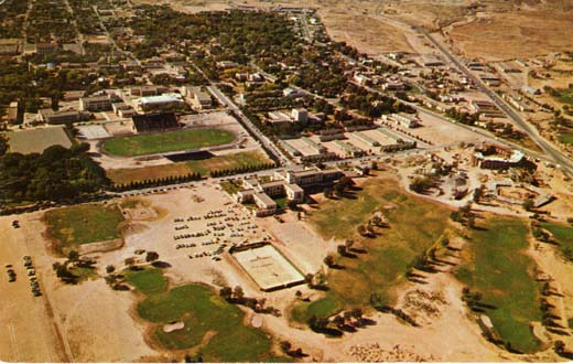 Aerial view of the campus of the University of New Mexico showing the mile high 18 hold campus Golf Course