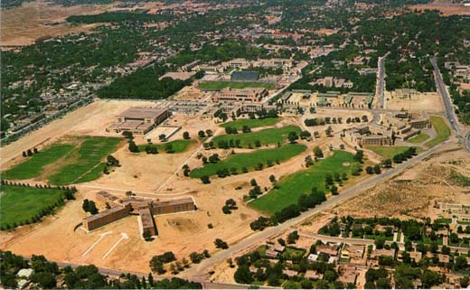 Aerial view of the campus of the U. of N.M. looking south.