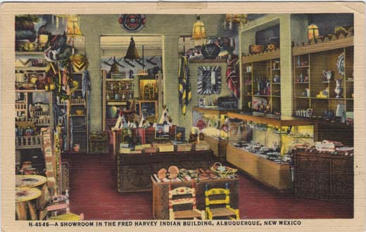 A showroom in the Fred Harvey Indian Building, Albuquerque, New Mexico