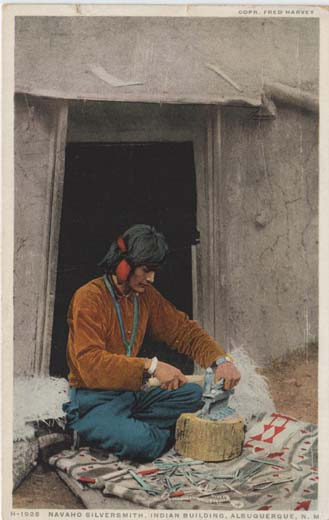 Navaho Silversmith, Indian Building, Albuquerque, N. M.