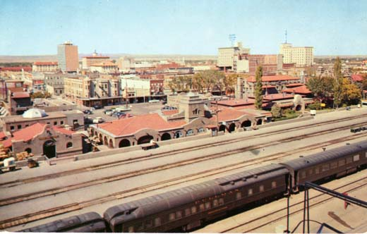 Fred Harvey Indian Building and Alvarado Hotel Viewed across the Santa Fe R.R. tracks