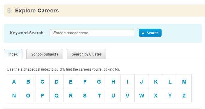 serach interface for career cruising showing a search box