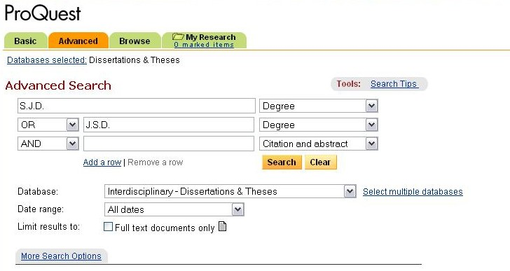 ProQuest Search Example