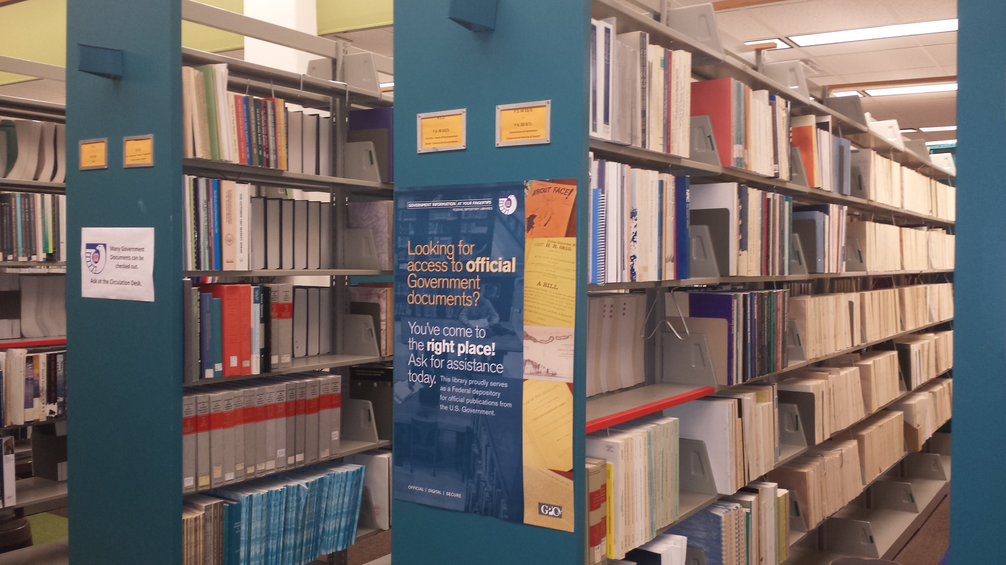 Photo of the government documents section in Schwob Library