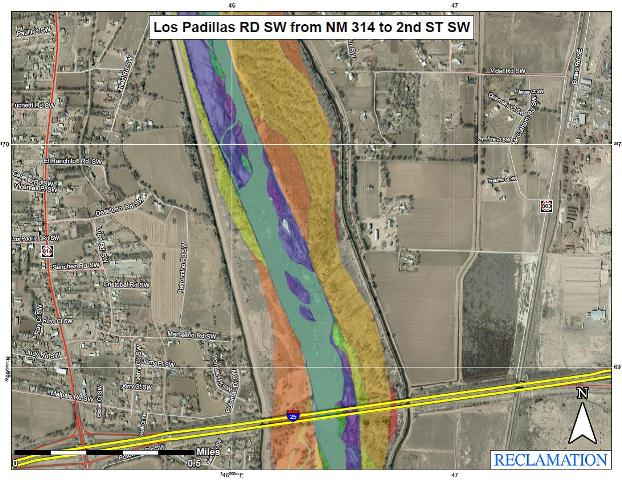 USGS Map Los Padillas Rd SW from NM 314 to 2nd St