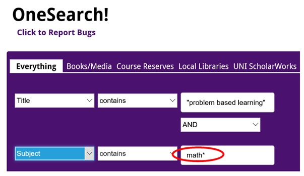 OneSearch - Title and Subject Search Example