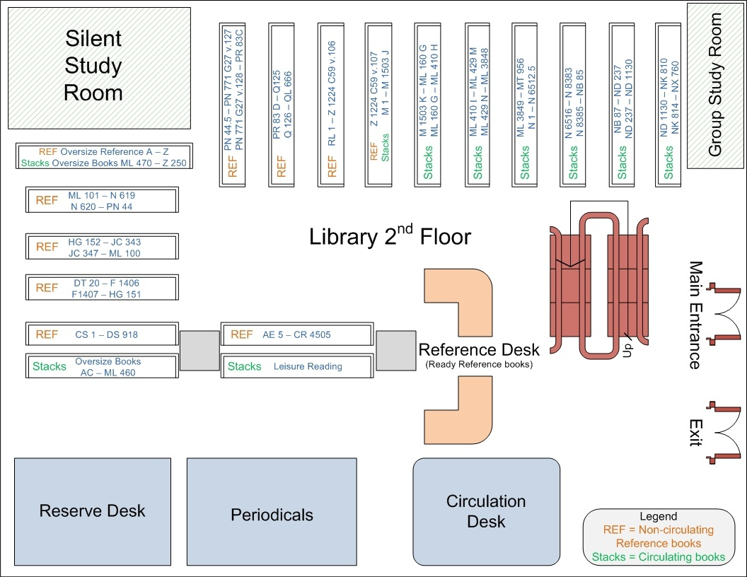 Image of a map of the second floor of the library