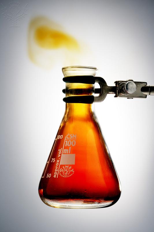 glass beaker containing nitrogen dioxide gas