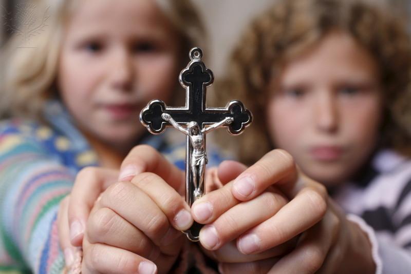 Children Holding A Crucifix, Haute Savoie, France, Europe. [Photography].