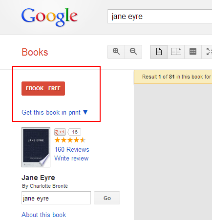 Screen caps of Google books results page