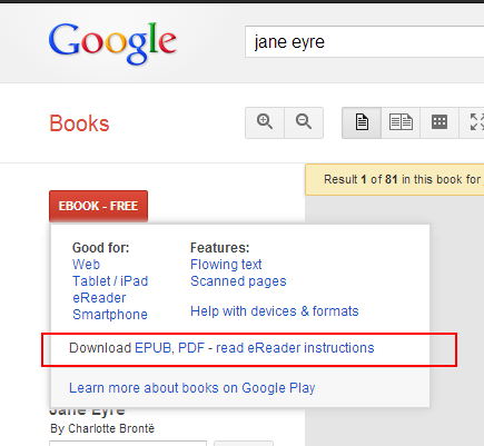 screen cap of google book results page