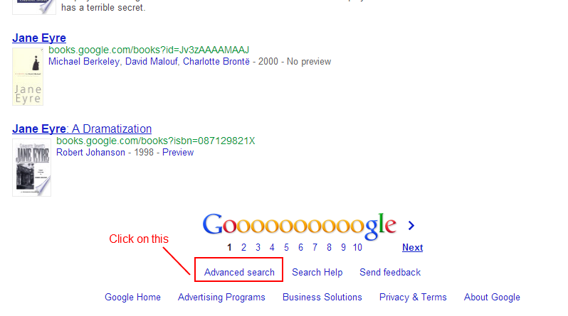 screen cap of google results page