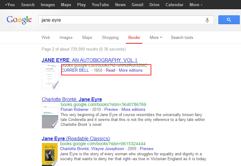 screen cap of Google Books results page