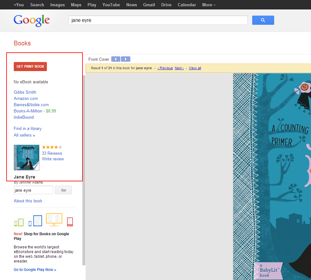 Screen cap of Google Book view page