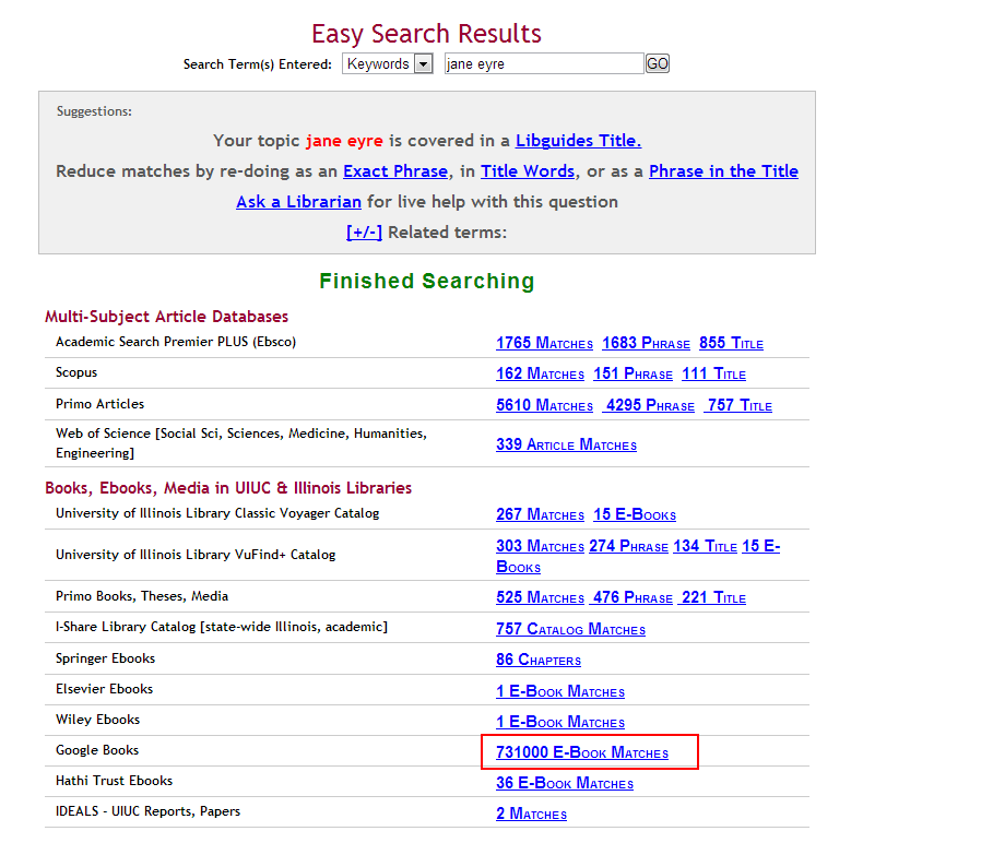 Screen cap of library catalog results page