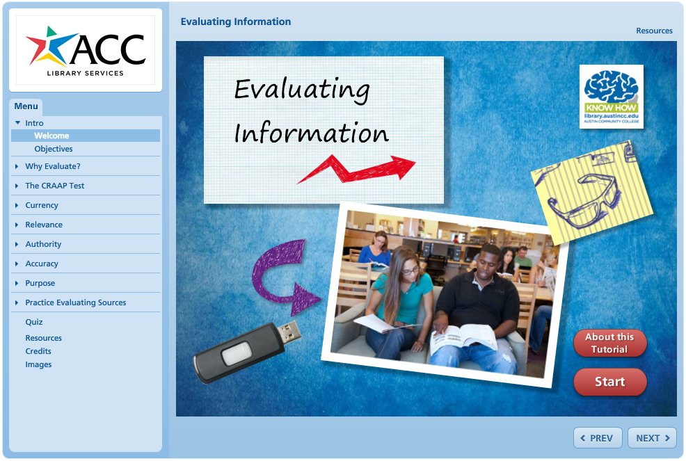 Evaluating Information Tutorial Image, see link below