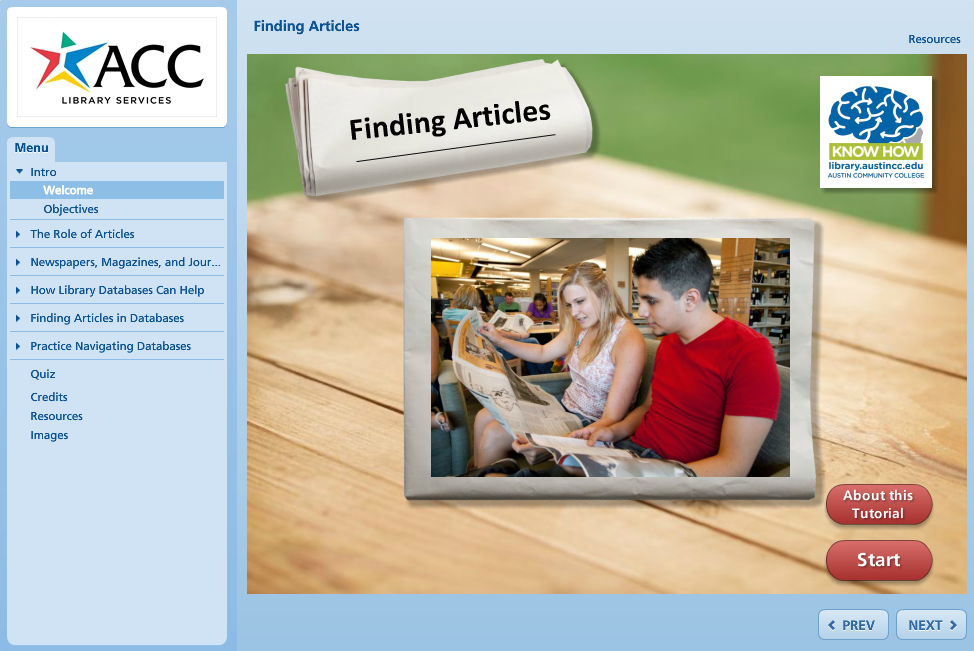 Finding Articles Tutorial Image