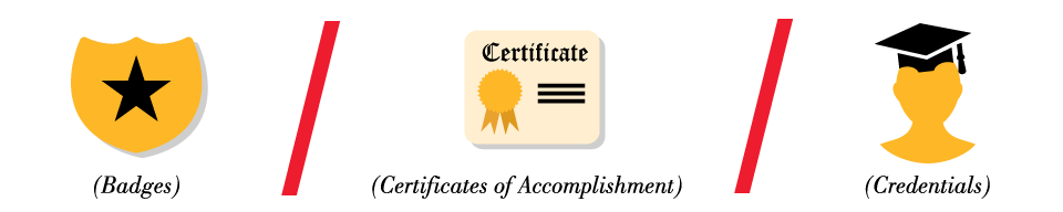 Illustration: Badges, Certificate of Accomplishment, Credentials