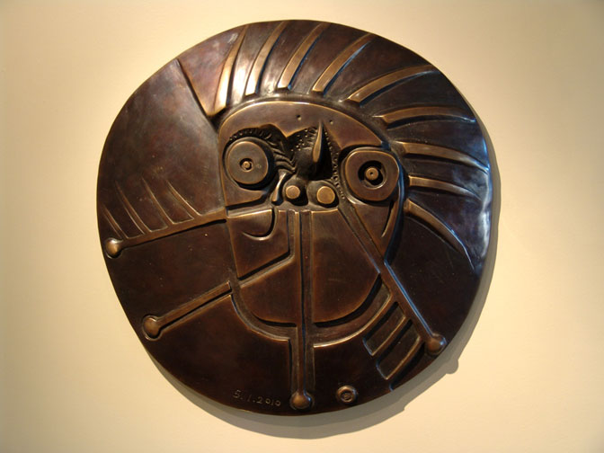 Untitled bronze plaque by Wayne Ngan
