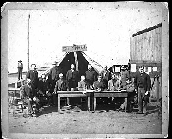 VPL Photo #508 - H.T. Devine, photographer - First Vancouver City Council Meeting after the fire - 1886