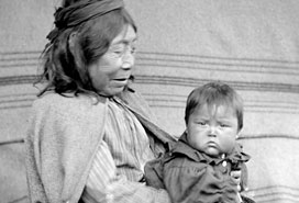Quatsino Indian woman and grandson, VPL #14068, 19__, Ben W. Leeson.