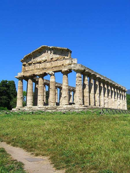 The Temple of Athena at the Graeco-Roman archaeological site of Paestum in Italy