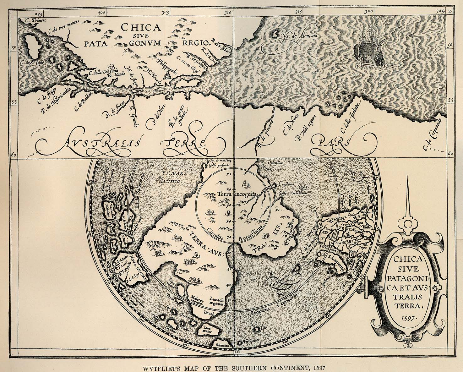 Wytfliet's Map of the Southern Continent, 1597