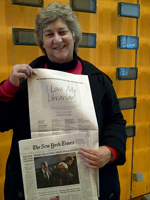 Greta Marlatt at New York Times with Newspaper announcing award