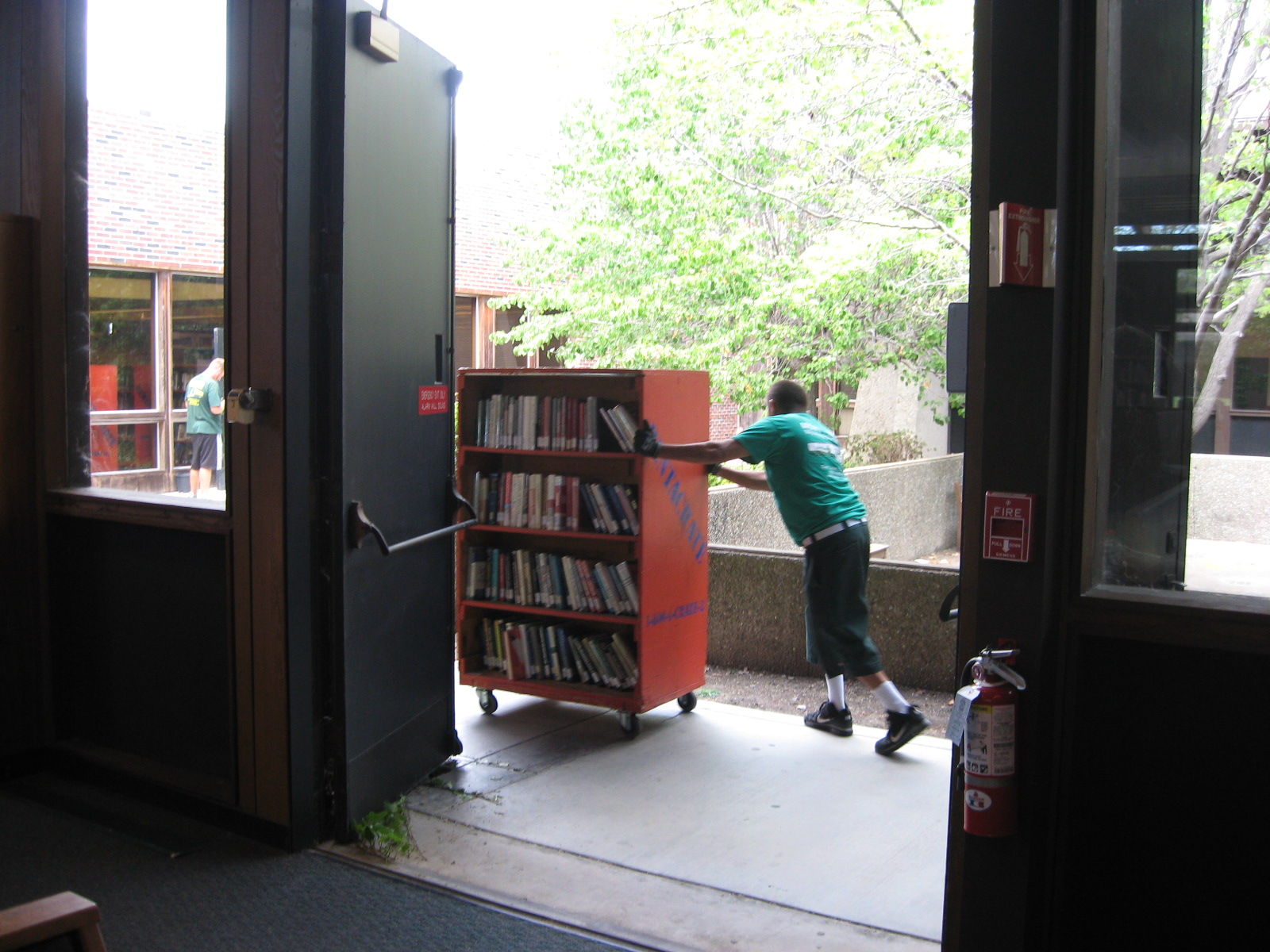moving library books to the temporary location