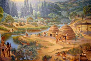 mural of life in an Ohlone village