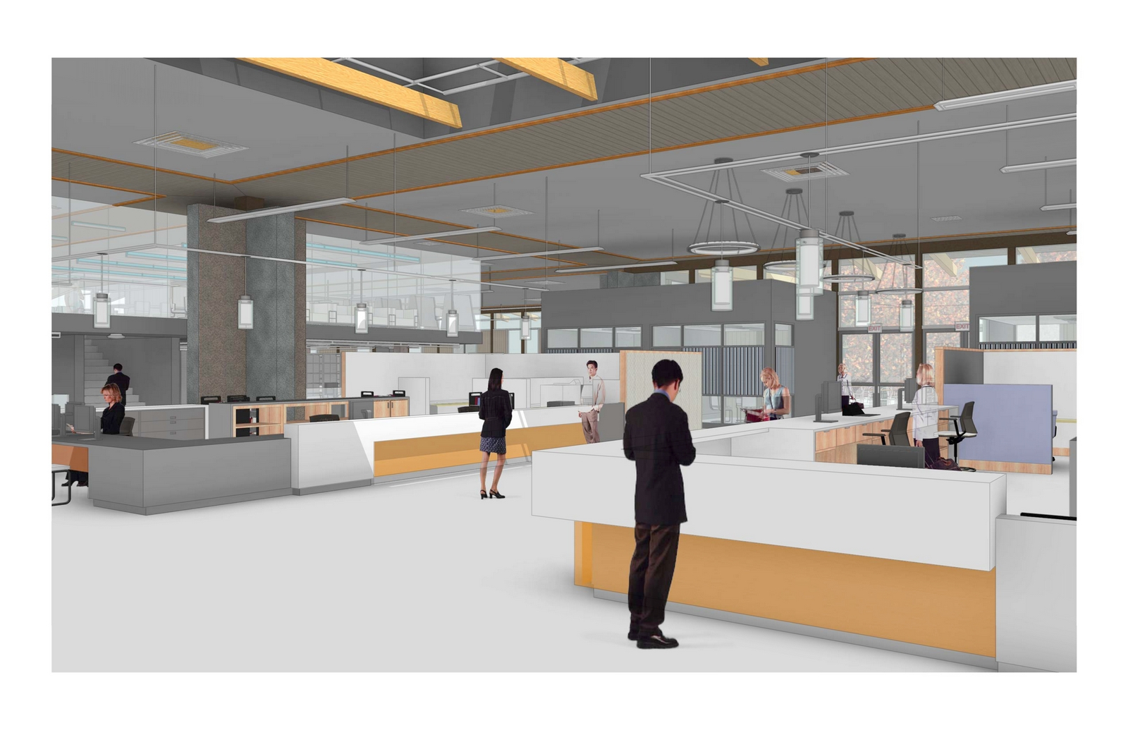 rendering of public service desks in the remodeled library