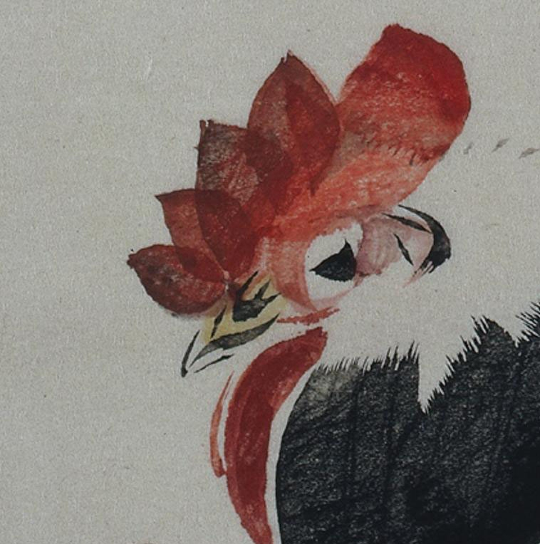 ARTstor, Ando Hiroshige, detail of Rooster, Hen and Chicks, 1880s, color woodblock print, Cleveland Museum of Art