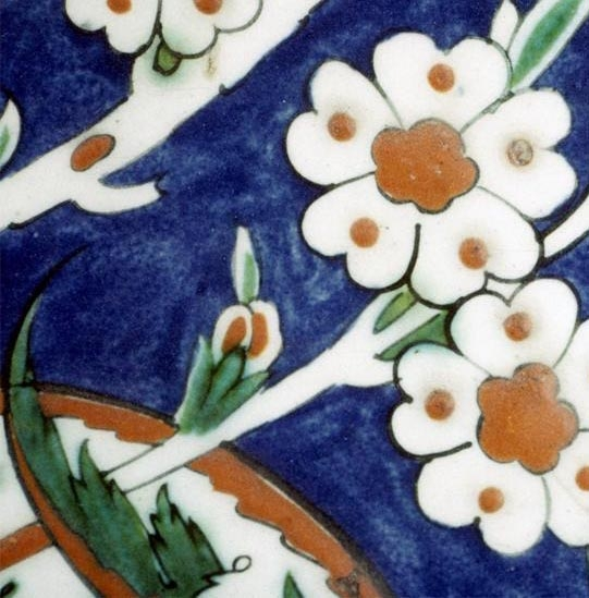 ARTstor, detail of an Iznik tile, Hagia Sofia Complex; Selim II Tomb, c. 1575, photo by Walter Denny
