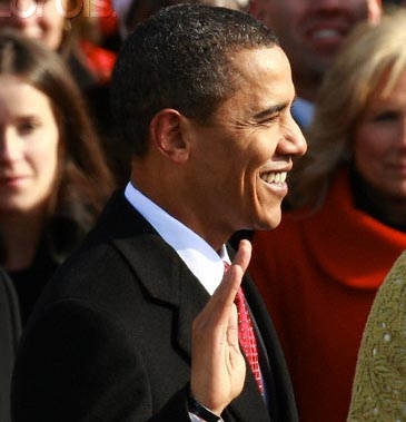 Barak Obama takes the oath of office, Jan. 20, 2009, photo by Ron Edwards, Ron Edmonds, AP/Corbis