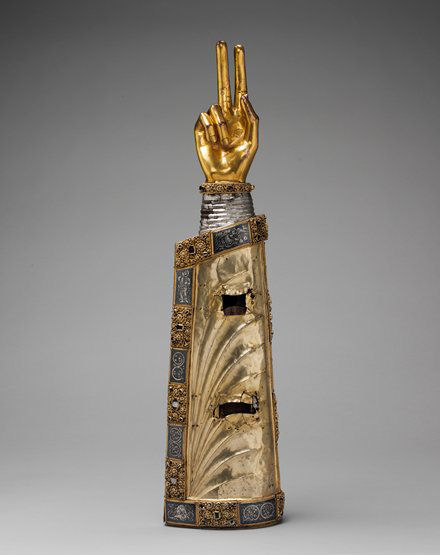 Reliquary arm, silver over oak; hand: bronze gilt; appliqué plaques: silver-gilt, niello and cabochon stones, 25 1/2 x 6 1/2 x 4 in. (64.8 x 16.5 x 10.2 cm), c. 1230 (New York, Metropolitan Museum of Art, The Cloisters Collection, 1947, Accession ID: 47.101.33); photo © The Metropolitan Museum of Art