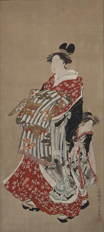 Yale Art Museum, Attributed to Utagawa Toyoharu. (1735–1814). Courtesan and Attendant (detail), Late 18th–early 19th century. Hanging scroll, ink and color on paper