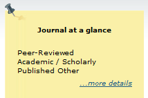 "Example of ""Journals at a Glance"" yellow sticky notice with Peer-review description."