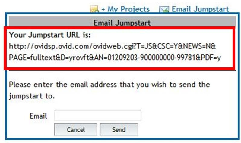 The JumpStart URL listed when you click on the Email Jumpstart link.  In order to make this a persistent URL, you must add the proxy prefix