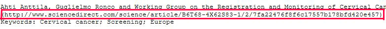 The persistent URL, which is part of the citation. It does not however, include the proxy prefix