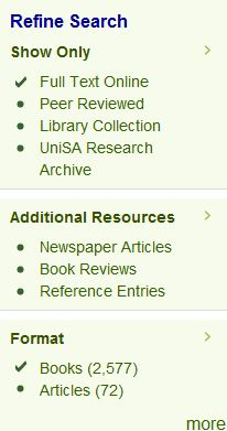 Limiting to ebooks in the catalogue [Image source: UniSA Library]