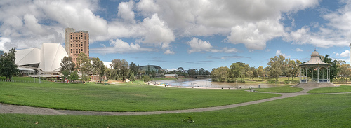 [Javi, 'Elder Park panorama', CC licence: CC BY-SA 2.0 (http://creativecommons.org/licenses/by-sa/2.0/deed.en) Image source: flickr (http://www.flickr.com/photos/72957193@N00/8713391529)]