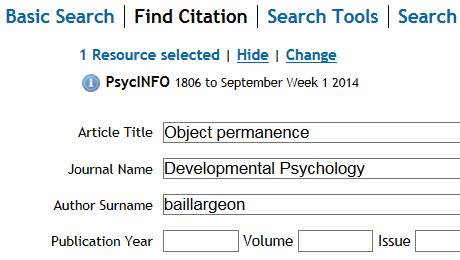 Example Find Citation search in PsycINFO