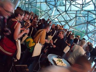 Networking at Re:live, Third International Conference on the Histories of Media Art, Science and Technology, Melbourne, 2009 [jonCates, 'DSCF2855', Image source: flickr http://www.flickr.com/photos/joncates/4138734085/, CC BY-SA 2.0 http://creativecommons.org/licenses/by-sa/2.0/deed.en]