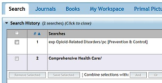 OvidSP Search History function [Image source: Wolters Kluwer and UniSA Library]