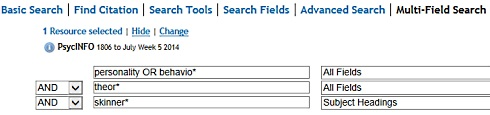 Example of a 'Multi-Field' search [Image source: Ovid]